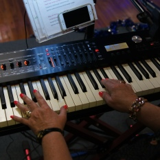 playing on the musical keyboard